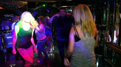 Disco music dancing party at the nightclub with the Disk Jokey - stock footage