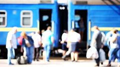 railway station, people on the platform - stock footage