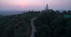 Aerial Ascending Reveal Shot of Big Buddha Sunrise in Phuket Stock Footage