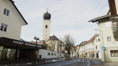 Main Road Highway 198 leading through Reutte Center - stock footage