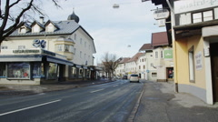 Main Road Highway 198 leading through Reutte Center Stock Footage
