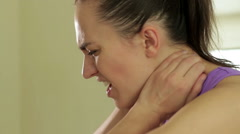 Young sport fitness woman pain neck, close up HD - stock footage