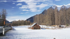 Snowy Tyrolean Landscape and Highway B189 just before Holzleiten Stock Footage