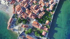 Aerial View of Old Budva in Montenegro Stock Footage