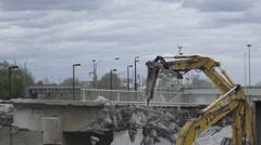 Dowling Avenue Bridge Demolition in Toronto Stock Footage