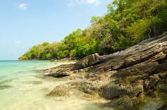 Beautiful island and tropical emerald sea at Rayong, Thailand - stock photo