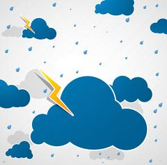 Bad weather. Blue sky background. Stock Illustration