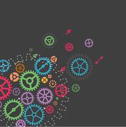 Abstract technology background with colorful gears. Vector illustration - stock illustration