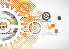 Abstract technology gears background.  Futuristic style with orange square ha Stock Illustration