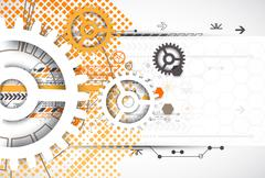Abstract technology gears background.  Futuristic style with orange square ha - stock illustration