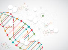 Science template, wallpaper or banner with a DNA molecules. - stock illustration