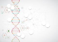 Science template, wallpaper or banner with a DNA molecules. Stock Illustration