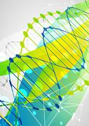 Science template,  banner with a DNA molecules. - stock illustration