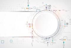 Abstract scientific technology background with various technological elements - stock illustration