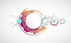 Abstract color background with various technological elements. Stock Illustration