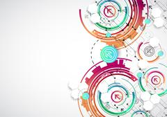Abstract color background with various technological elements. - stock illustration