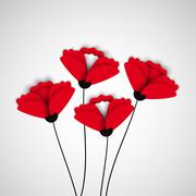 Abstract nature background. Red poppy flowers. Stock Illustration