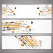 Set of web technology theme banners for your web site Stock Illustration