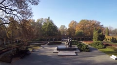 Aerial Shot. Frederic Chopin Sculpture. Park. Stock Footage