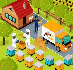 Isometric Honey Bee Apiary Beekeeper Design Flat - stock illustration
