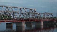 Locomotive railway bridge over the river Stock Footage