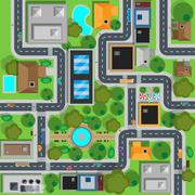 Map of City Top View Design Flat - stock illustration