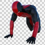 one young man in the red and black super suit. Crawls on his knees - stock illustration