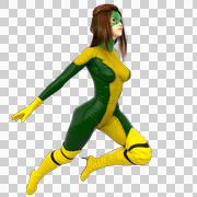 One girl in green yellow super suit. Jump right in Stock Illustration