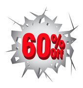 Sale 60% percent on Hole cracked white wall - stock illustration