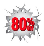 Sale 80% percent on Hole cracked white wall - stock illustration