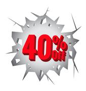 Sale 40% percent on Hole cracked white wall - stock illustration