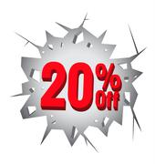 Sale 20% percent on Hole cracked white wall - stock illustration