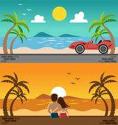 Romantic lover watching sunset and sport car in the beach Stock Illustration