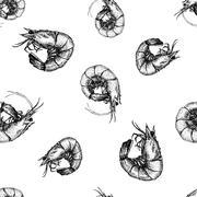 Hand drawn shrimp pattern - stock illustration