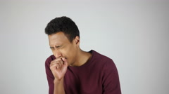 Cough, Young Sick Man Coughing, Gesture - stock footage