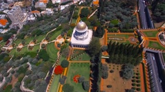 360 aerial of the Bahai temple and gardens Stock Footage