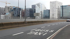 Traffic & Bar Code Buildings / Oslo Skyline in Oslo Norway Stock Footage