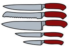 Five kitchen knives Stock Illustration