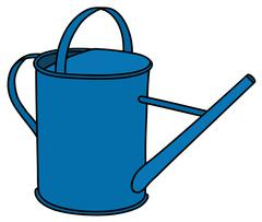 Blue tin watering can - stock illustration
