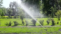 Automatic watering the lawn Stock Footage