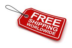 Free shipping worldwide tag, 3d render - stock illustration