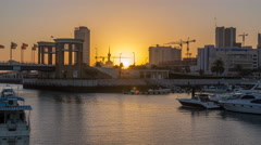 Sunrise. Yachts and boats at the Sharq Marina timelapse in Kuwait. Kuwait City - stock footage