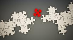 Red puzzle part standing between white puzzle parts. 3D illustration Stock Illustration