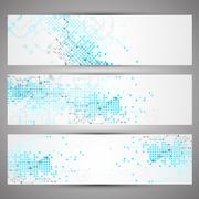Set of web tecnology theme banners for your web site - stock illustration