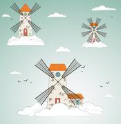 Windmill at sky. vector - stock illustration