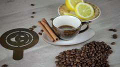 Coffee on table Stock Footage