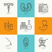 Icons set childbirth - stock illustration