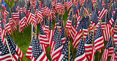 American Flag decorations for Memorial Day Holiday Stock Footage