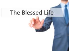 The Blessed Life - Businessman hand pressing button on touch screen interface Stock Photos