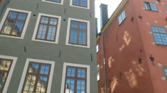 Old Building facades and cafes - Stortorget, gamla Stan - Stockholm Stock Footage